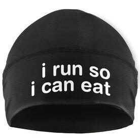 Run Technology Beanie Performance Hat - I Run So I Can Eat (White Lettering)