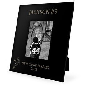 Basketball Engraved Picture Frame - Name and Number (Guy Player Silhouette)