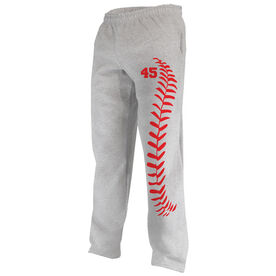 Baseball Fleece Sweatpants Baseball Stitches With Number