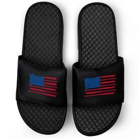 Baseball Black Slide Sandals - American Flag