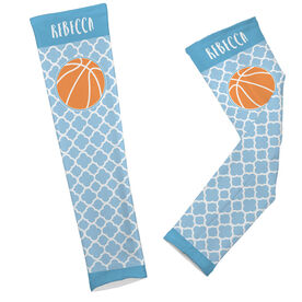 Basketball Printed Arm Sleeves Personalized Basketball Quatrefoil Pattern