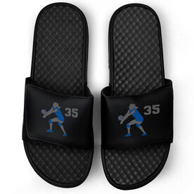 Volleyball Black Slide Sandals - Volleyball Player with Number