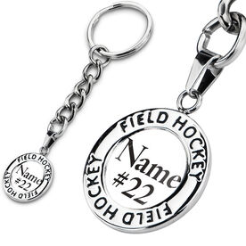Field Hockey Circle Keychain Your Name Your Number