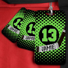 Hockey Bag/Luggage Tag Personalized Crossed Stick with Dots Background