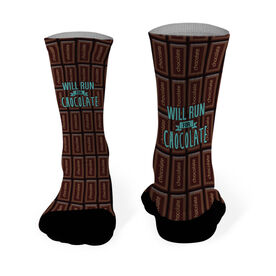 Running Printed Mid Calf Socks Will Run For Chocolate (Deco)