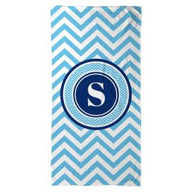 Swimming Beach Towel Single Letter Monogram with Chevron