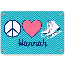 Figure Skating Metal Wall Art Panel - Personalized Peace Love Figure Skating Chevron