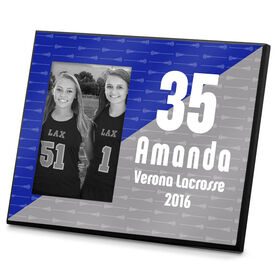 Girls Lacrosse Photo Frame Personalized Big Number Lacrosse Sticks Pattern Girl