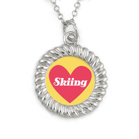 Skiing Braided Circle Necklace - Heart Skiing Text