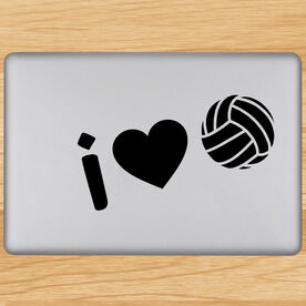 Volleyball Removable Laptop Decal I Heart Volleyball