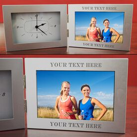 Custom Engraved Sport Clock Picture Frame Silver 4 x 6