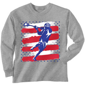 Guys Lacrosse Long Sleeve T-Shirt - USA Laxer