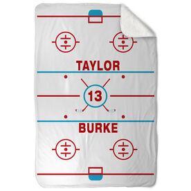 Hockey Sherpa Fleece Blanket Personalized Ice Rink