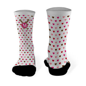 Lacrosse Printed Mid Calf Socks Monogram with Crossed Sticks and Hearts