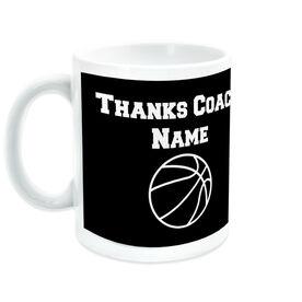 Basketball Ceramic Mug Thanks Coach Ball Graphic With Team Roster