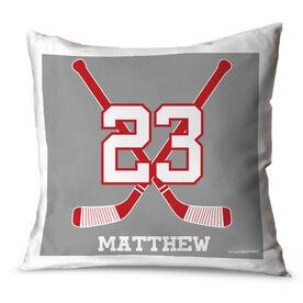 Hockey Throw Pillow Personalized Crossed Sticks