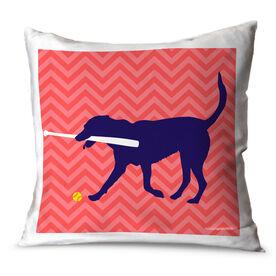 Softball Throw Pillow Mitts The Softball Dog