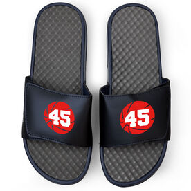 Basketball Navy Slide Sandals - Basketball with Number