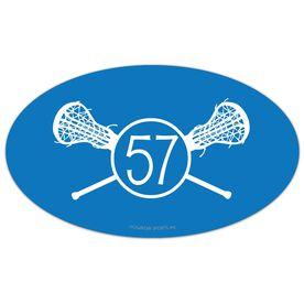 Girls Lacrosse Oval Car Magnet Number Monogram