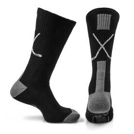 Hockey Woven Mid Calf Socks - Sticks (Black/Gray)
