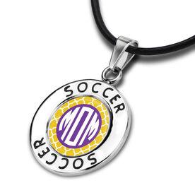 Soccer Circle Necklace Soccer Quatrefoil Mom-ogram