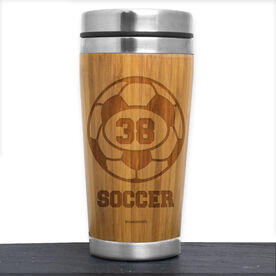 Bamboo Travel Tumbler Soccer Ball with Personalized Number