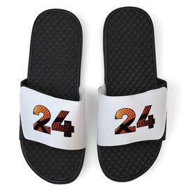 Basketball White Slide Sandals - Custom Basketball Number