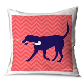 Field Hockey Throw Pillow Fetch The Field Hockey Dog