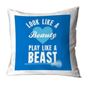 Girls Lacrosse Throw Pillow Look Like A Beauty, Play Like A Beast