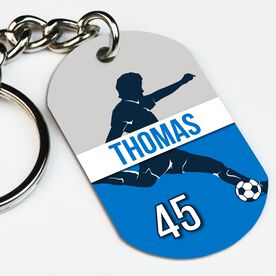 Soccer Printed Dog Tag Keychain Personalized Soccer Guy Name and Number