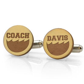 Swimming Engraved Wood Cufflinks Coaches Name With Wave