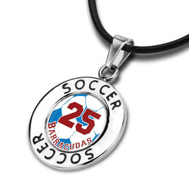 Soccer Circle Necklace Soccer Graphic Team Name and Number