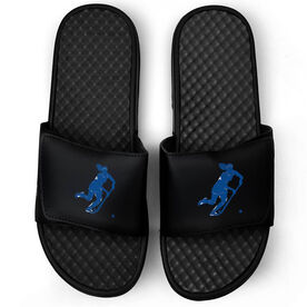 Field Hockey Black Slide Sandals - Player Silhouette