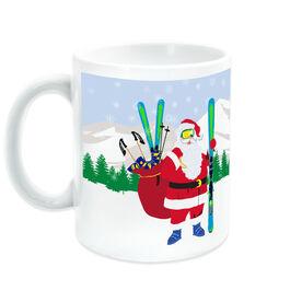 Skiing Ceramic Mug Santa