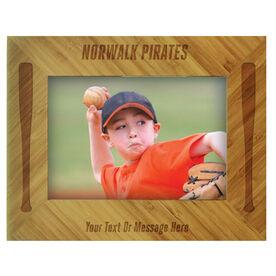 Baseball Bamboo Engraved Picture Frame Team Name