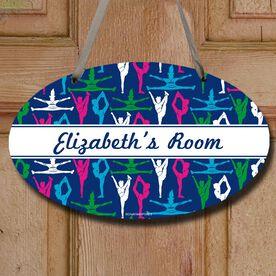 Cheerleading Oval Sign Personalized Cheer Girl Pattern