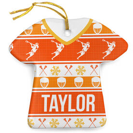Guys Lacrosse Porcelain Ornament Ugly Sweater
