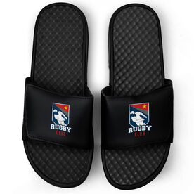 Rugby Black Slide Sandals - Your Logo