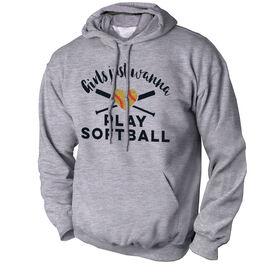 Softball Standard Sweatshirt Girls Just Wanna Play Softball with Glitter