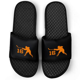 Hockey Black Slide Sandals - Hockey Slapshot with Number