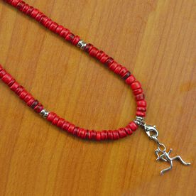 Natural SportBEAD Adjustable Necklace - Sterling Silver Stick Figure Runner Charm