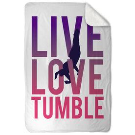 Gymnastics Sherpa Fleece Blanket Live Love Tumble