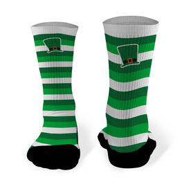 Printed Mid Calf Socks Leprechaun Hat with Stripes