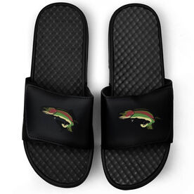Fly Fishing Black Slide Sandals - Rainbow Trout