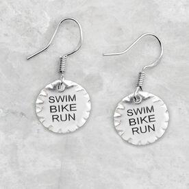 Livia Collection Sterling Silver Scalloped Swim Bike Run Earrings