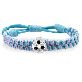 Soccer Ball Rhinestone Adjustable Woven SportSNAPS Bracelet