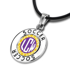 Soccer Circle Necklace Quatrefoil Monogram
