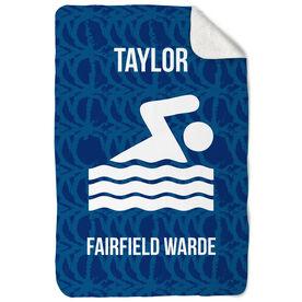 Swimming Sherpa Fleece Blanket Personalized Team