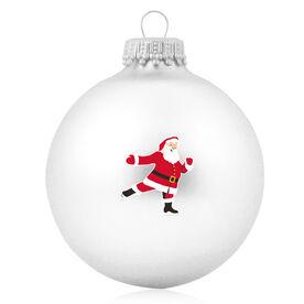Figure Skating Glass Ornament Skating Santa