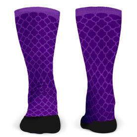 Customized Printed Mid Calf Team Socks Quatrefoil Pattern